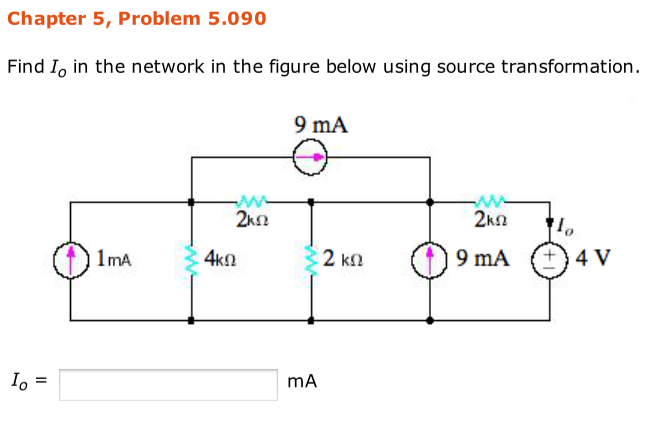Find IO in the network in the figure below using s