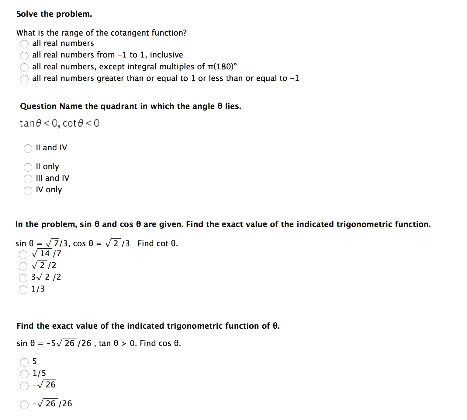 worksheet Quadrant Numbers solve the problem what is range of cotang chegg com image for cotangent function all