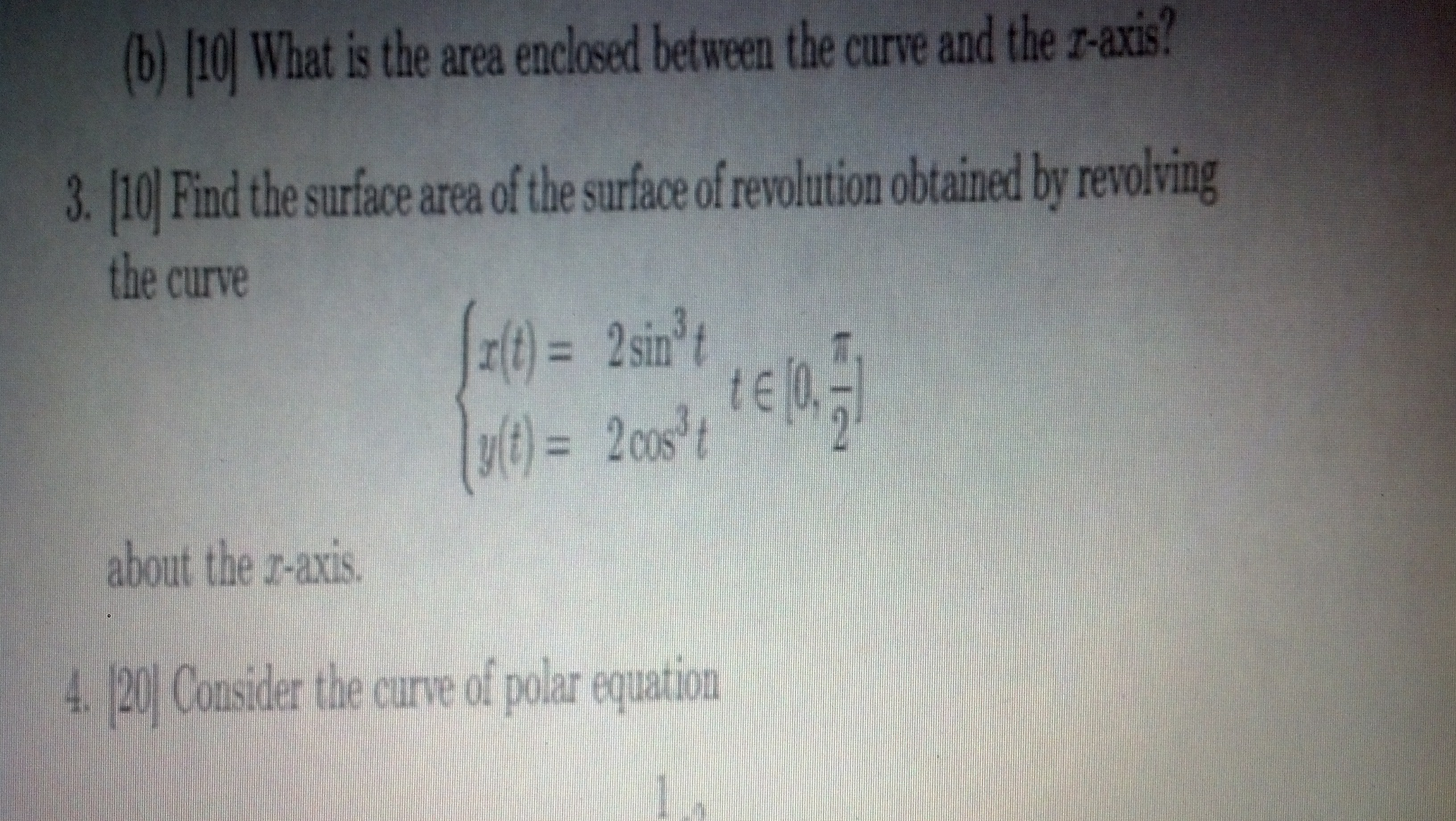 What is the area enclosed between the curve and th