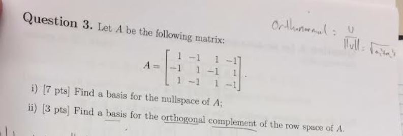 how to find basis for orthogonal complement
