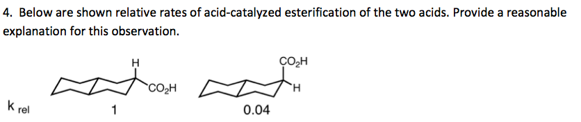 Below are shown relative rates of acid-catalyzed e