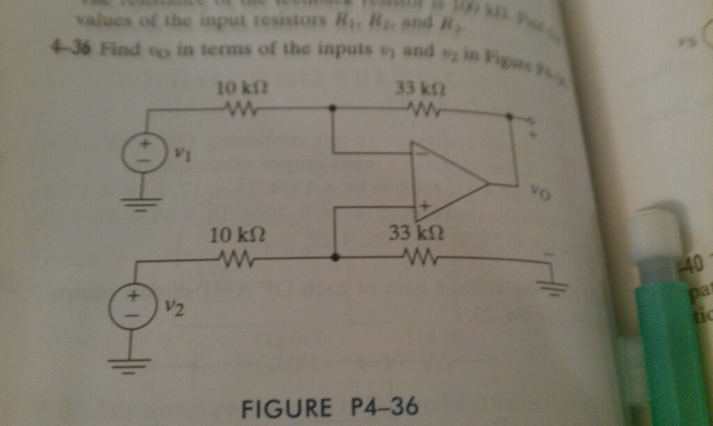 Consider the circuit of problem 4-36, text, exce