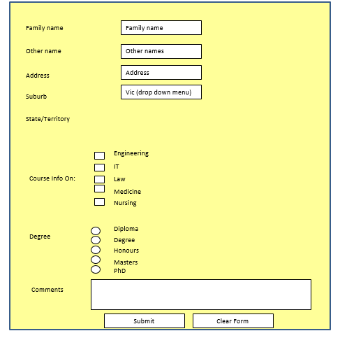 Exercise 1 make a html form containing an eleme for Html form table
