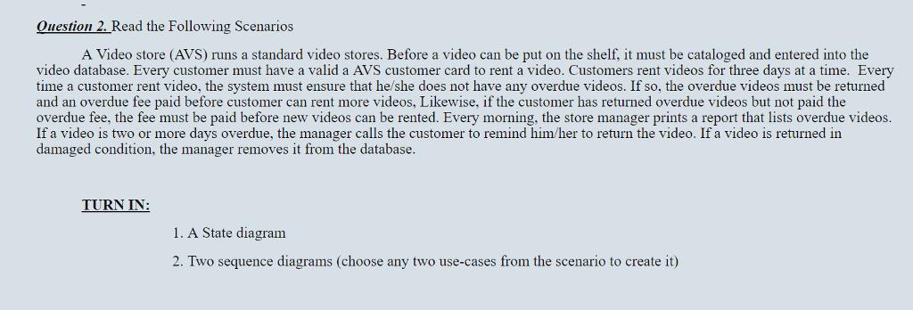 A video store avs runs a standard video stores chegg question 2 read the following scenarios a video store avs runs a standard video ccuart Image collections