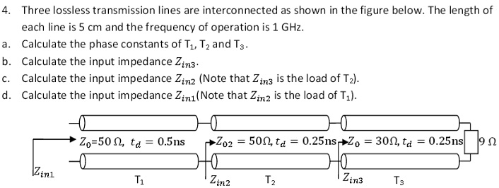 Three lossless transmission lines are interconnect