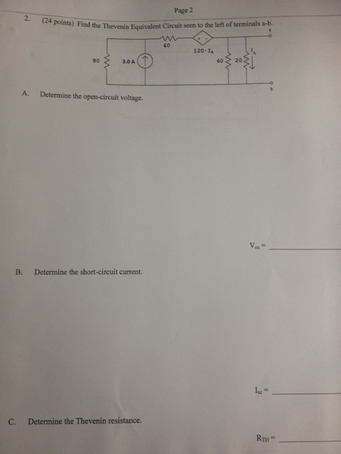 Find the Thevenin Equivalent Circuit seen to the l