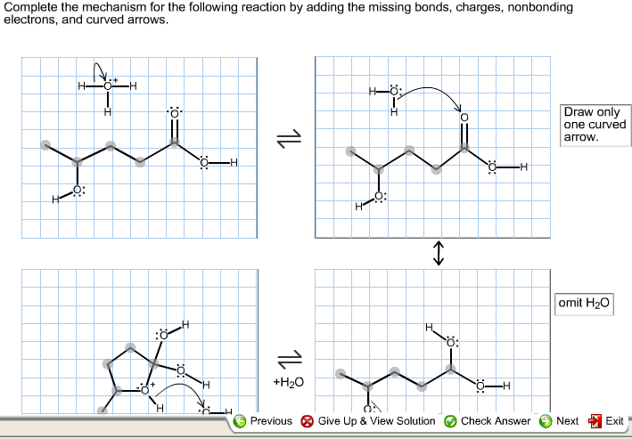 Complete the mechanism for the following reaction