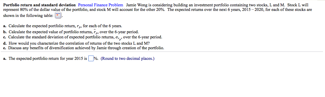 discuss any benefits of diversification achieved through creation of the portfolio Portfolio return and standard deviation jamie wong is considering  discuss any benefits of diversification achieved by jamie through creation of the.