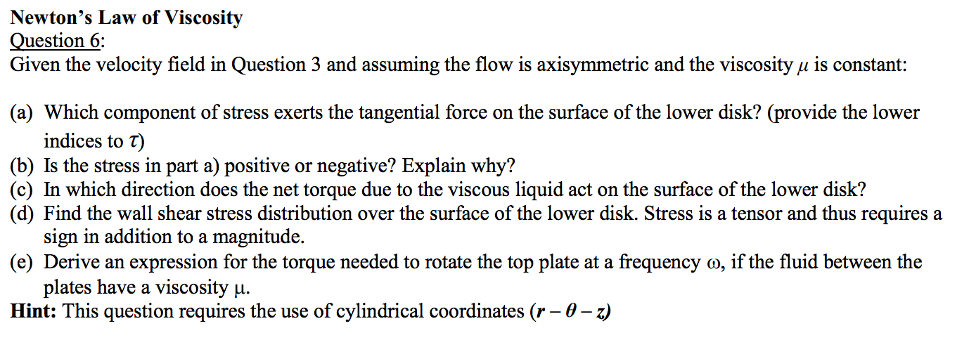 Newton's Law Of Viscosity Question 6: Given The Ve...   Chegg.com