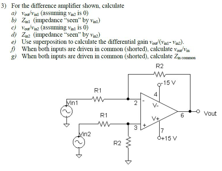 For the difference amplifier shown, calculate vou