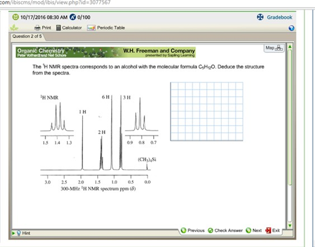 The 1h nmr spectra corresponds to an alcohol with chegg gamestrikefo Images