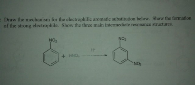 Draw the mechanism for the electrophile aromatic s