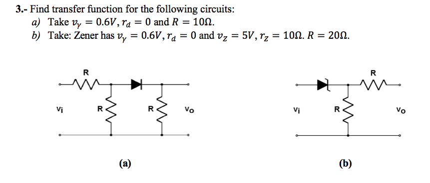 Find transfer function for the following circuits: