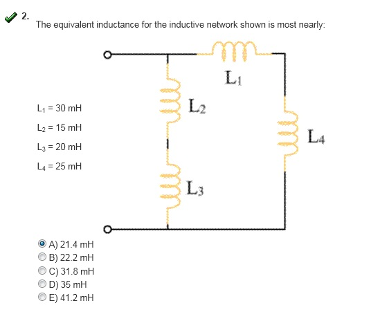 The equivalent inductance for the inductive networ