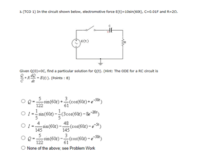 In the circuit shown below electromotive force E(
