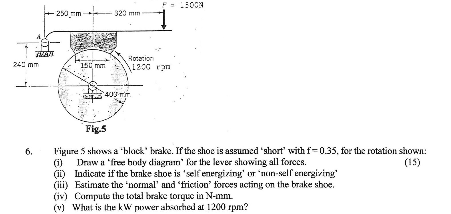 Figure 5 shows a block brake if the shoe is ass chegg show transcribed image text figure 5 shows a block brake if the shoe is assumed short with f 035 for the rotation shown draw a free body diagram pooptronica