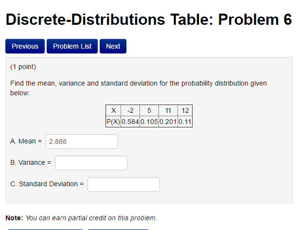 Find the mean variance and standard deviation for chegg find the mean variance and standard deviation for ccuart Images