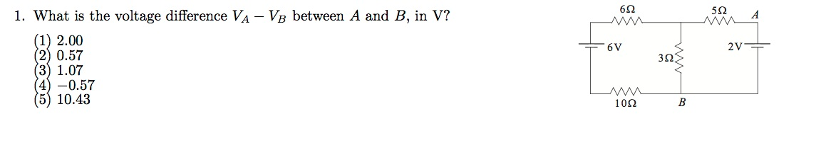 What is the voltage difference VA - VB between A a