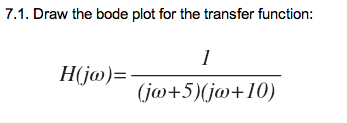 Draw the bode plot for the transfer function: H(j