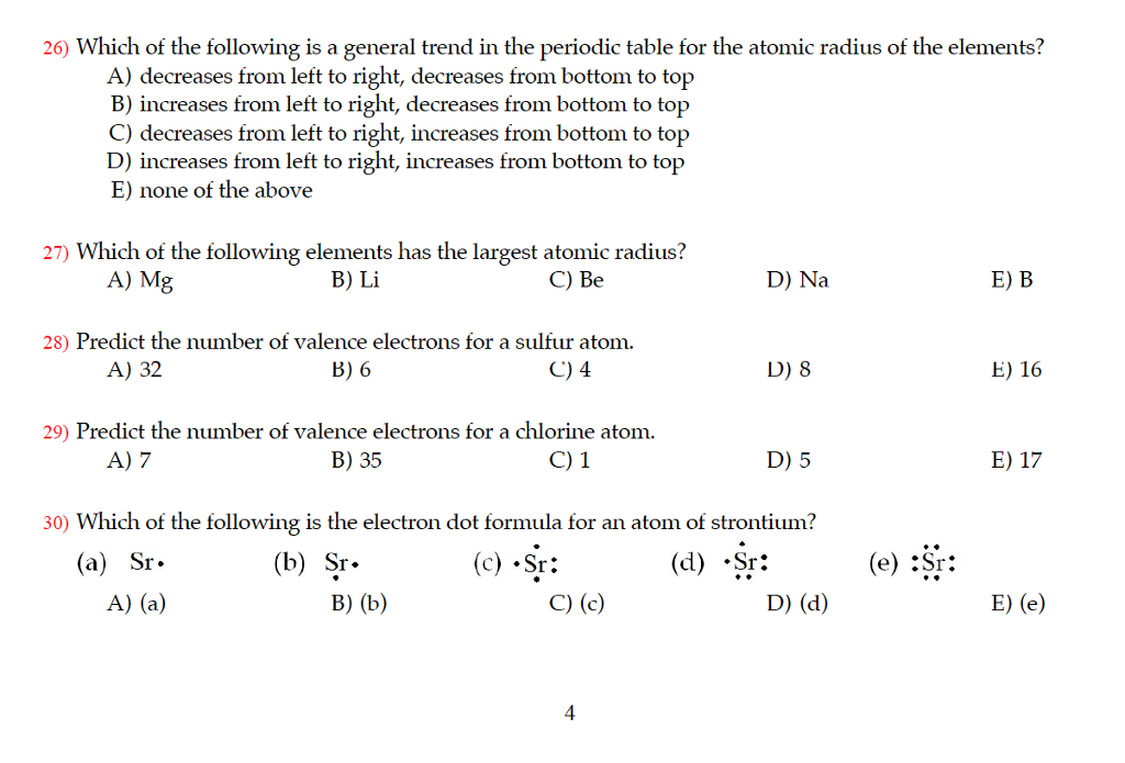 26 which of the following is a general trend in the periodic table for the atomic - Periodic Table Showing Atomic Radius