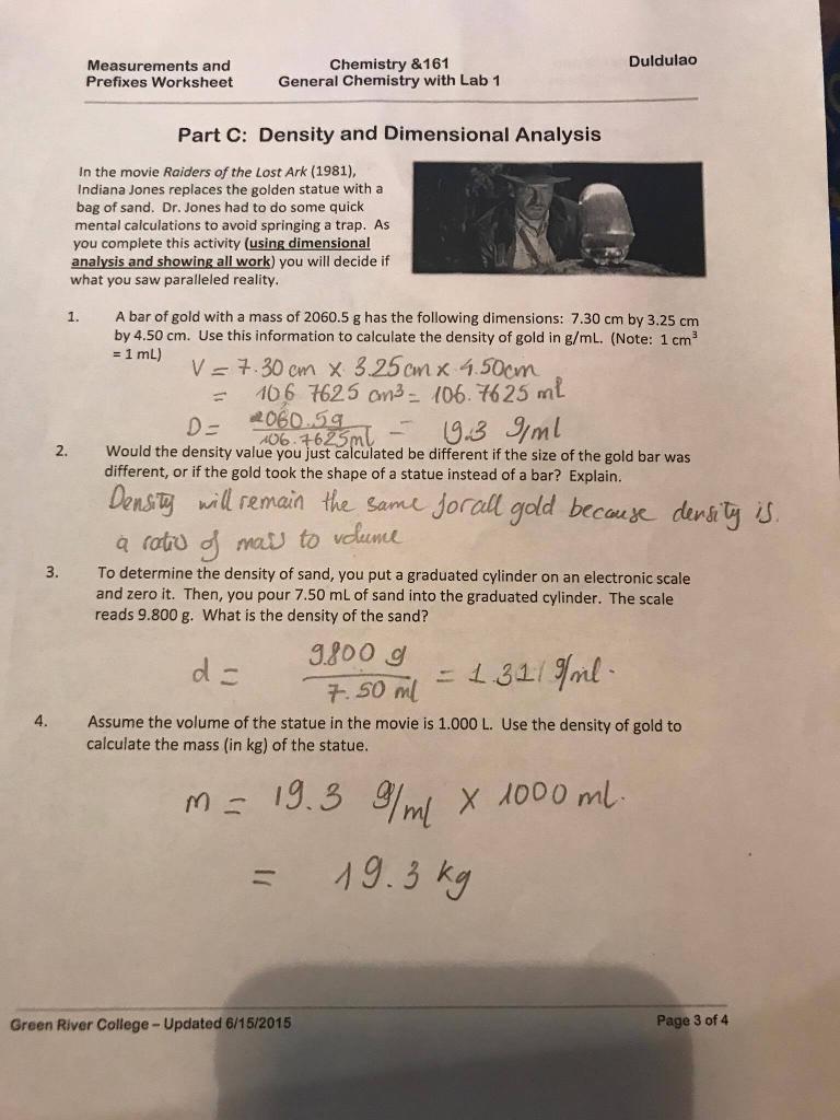 Solved Duldulao Measurements And Prefixes Worksheet Chemi