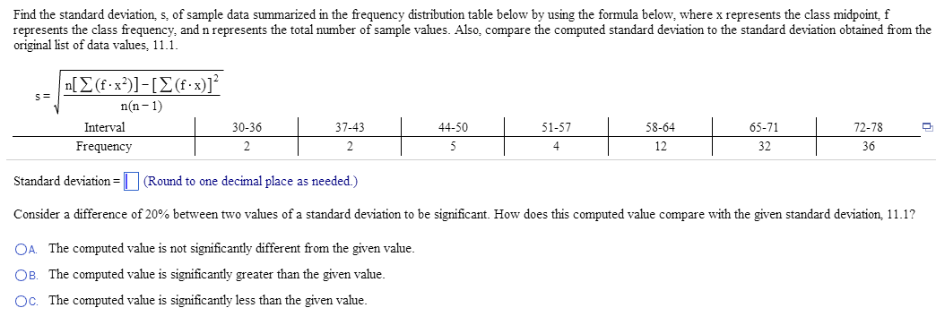 Find The Standard Deviation, S, Of Sample Data Sum... | Chegg.com