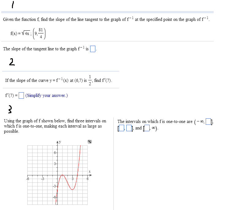 Given the function f, find the slope of the line t