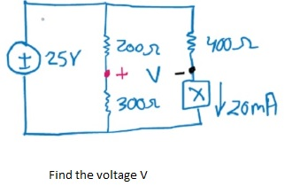 Find the voltage V