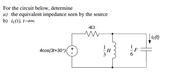 For the circuit below, determine the equivalent i