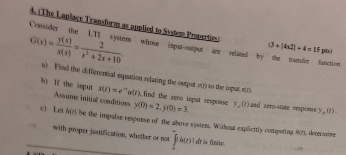 (The Laplace Transform as applied to System Proper