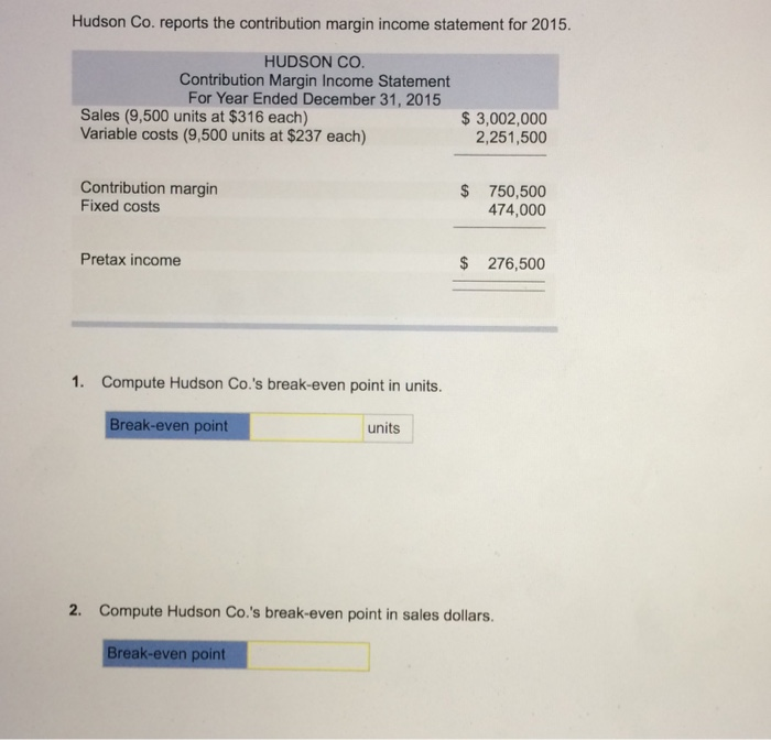 Hudson Co Reports The Contribution Margin Income    CheggCom