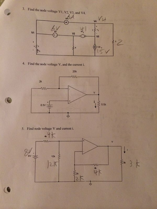 Find the node voltage V1, V2, V3, and V4. Find th
