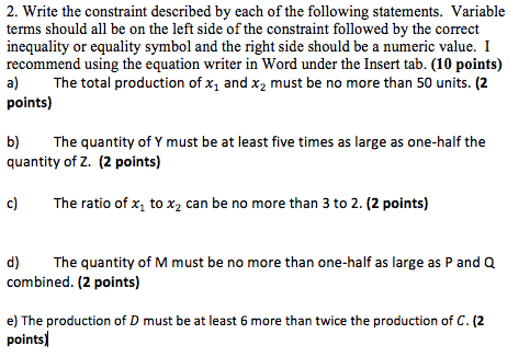 2. Write The Constraint Described By Each Of The F... | Chegg.com