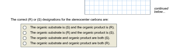 The correct (R) or (S) designations for the stereo