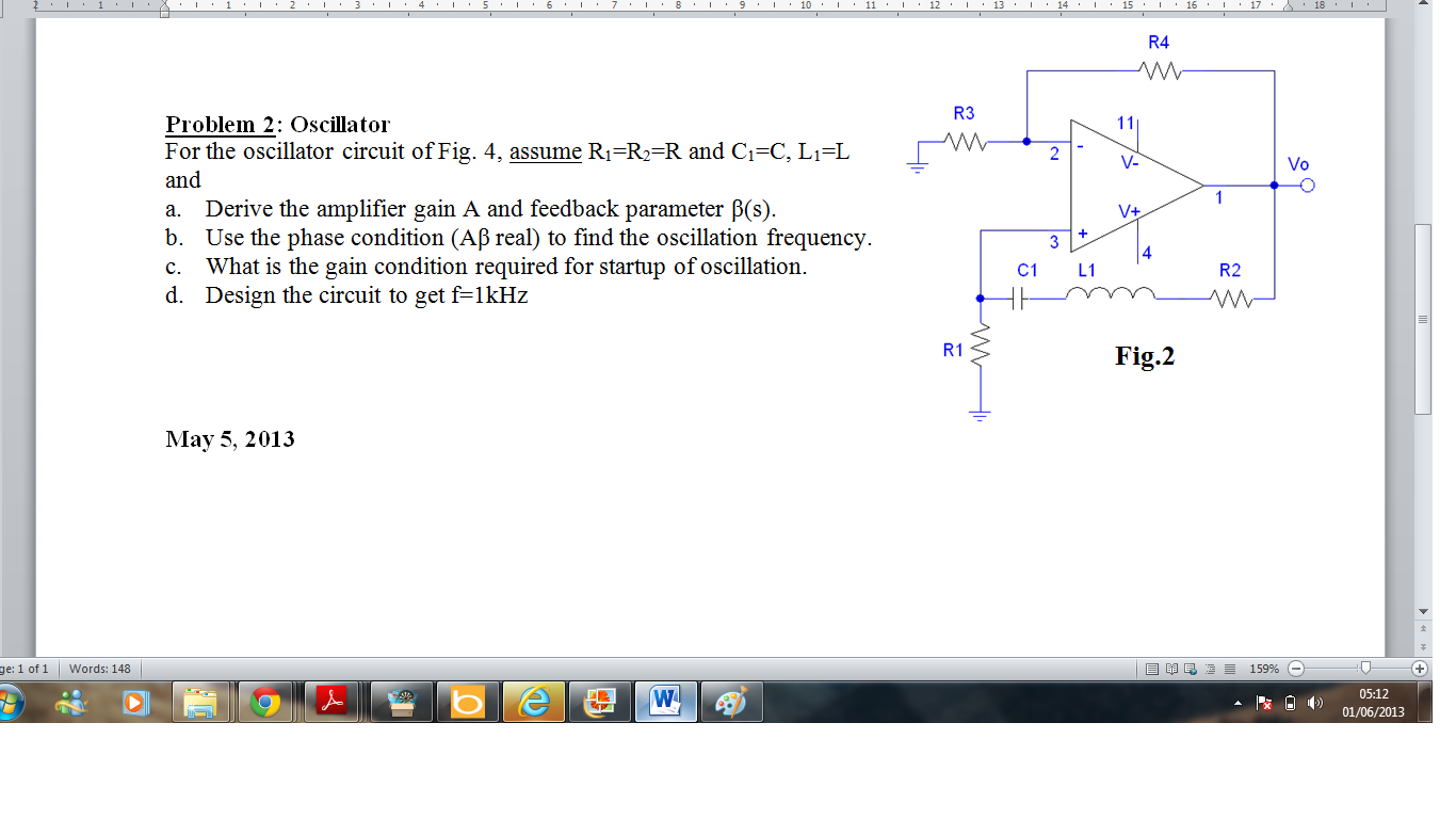 Oscillator For the oscillator circuit of Fig. 4,