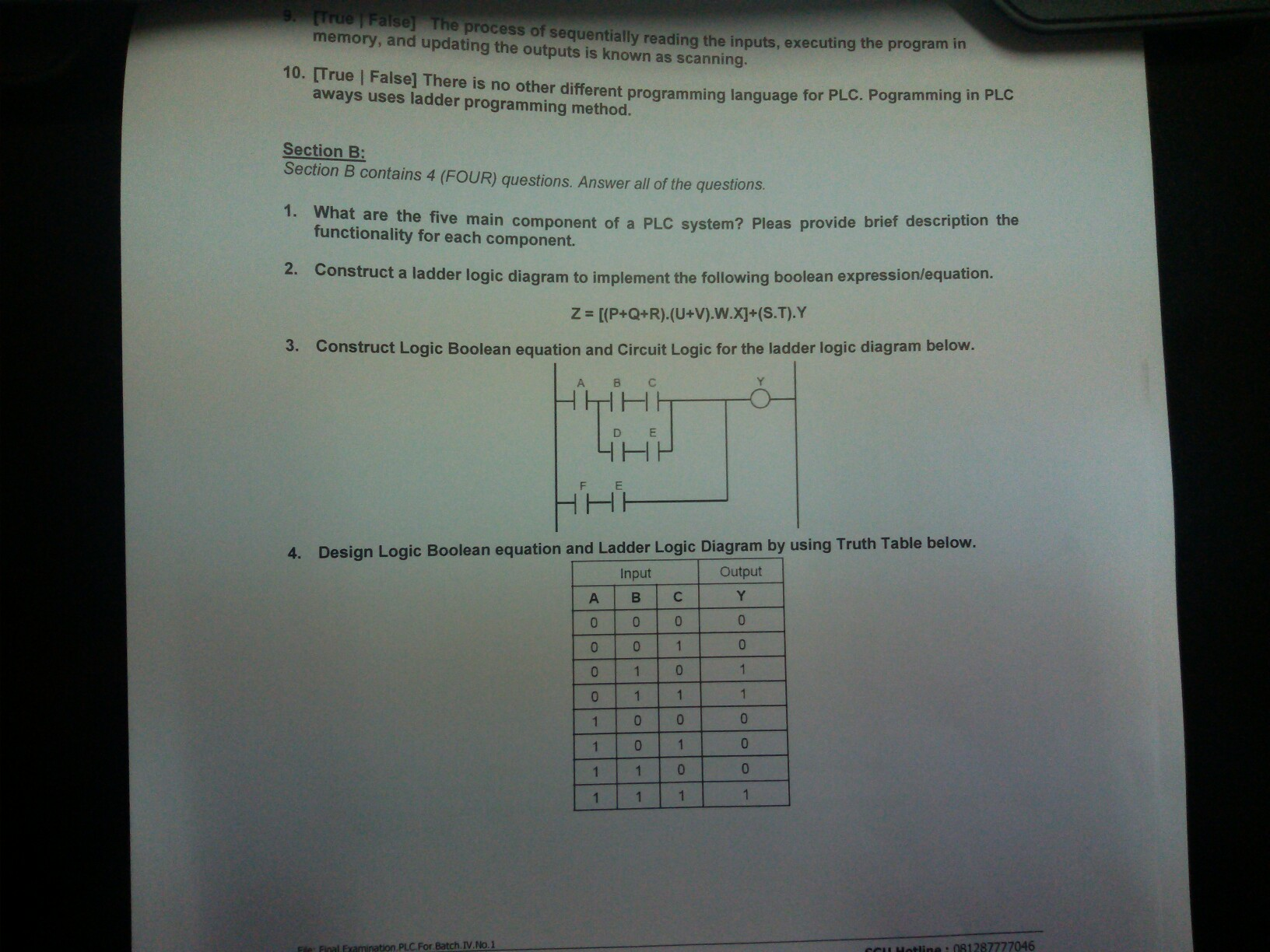 What are the five main component of a plc system chegg memory sel the process of sequentially reading the inputs executing the program in and ccuart Images