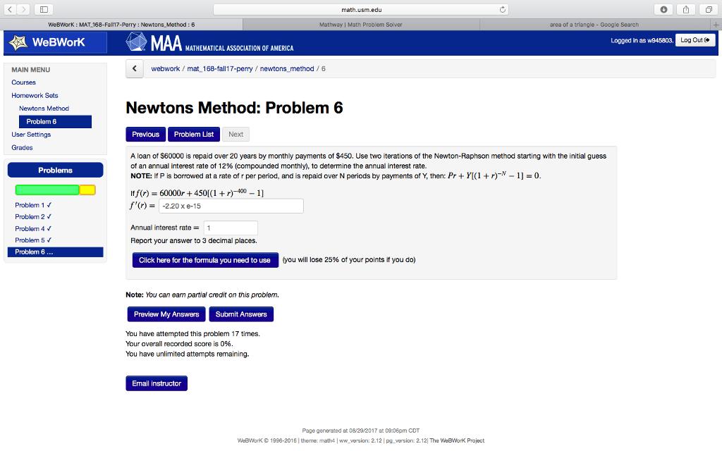 Solved: Math.usm.edu 0山 WeBWorK MAT 168-Fall17-Perry Newt ...