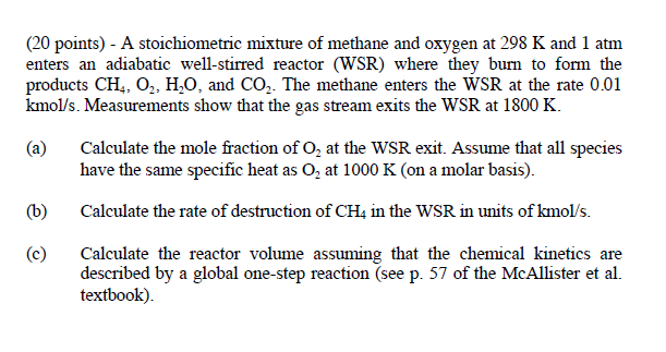 A stoichiometric mixture of methane and oxygen at
