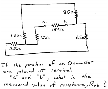 What resistance, Rab, is measured when an ohmmeter