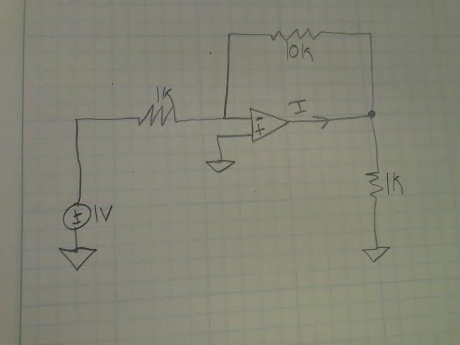 Assuming ideal op-amp find I (my professor gave us
