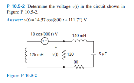 Determine the voltage v(t) in the circuit shown in