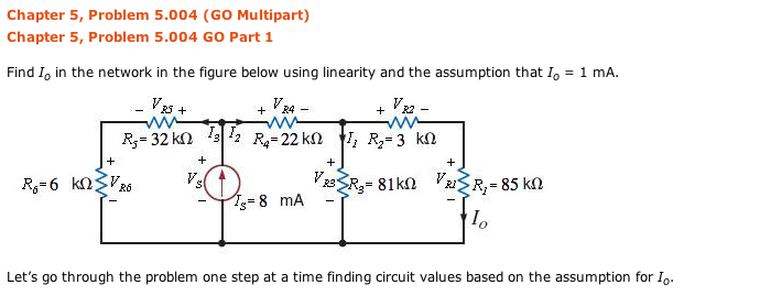 Find I0 in the network in the figure below using l