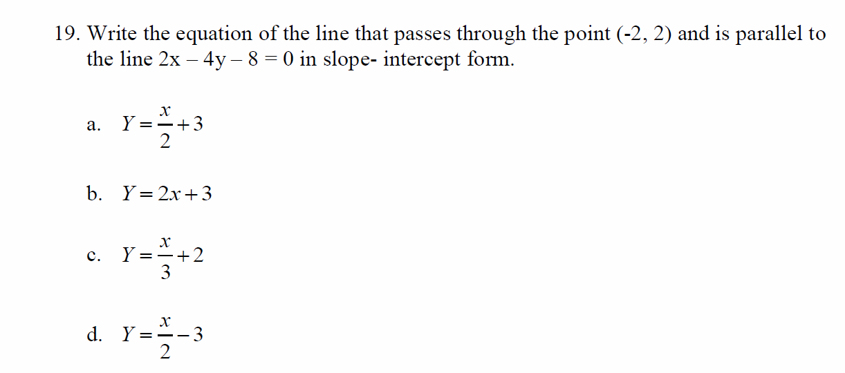 Solved Write The Equation Of The Line That Passes Through