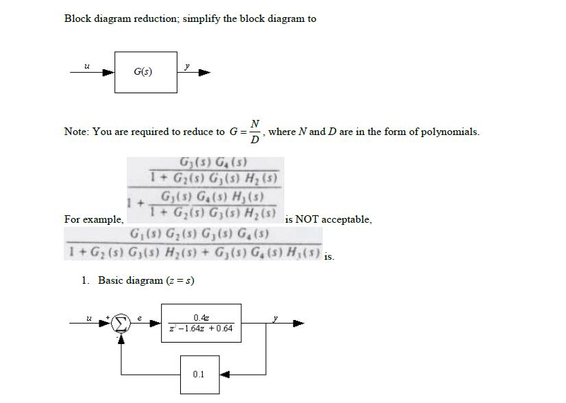 Solved: Block Diagram Reduction; Simplify The Block Diagra ...