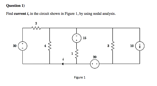 Find current i1 in the circuit shown in Figure 1,