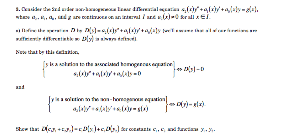 Consider The 2nd Order Non Homogeneous Linear Diff