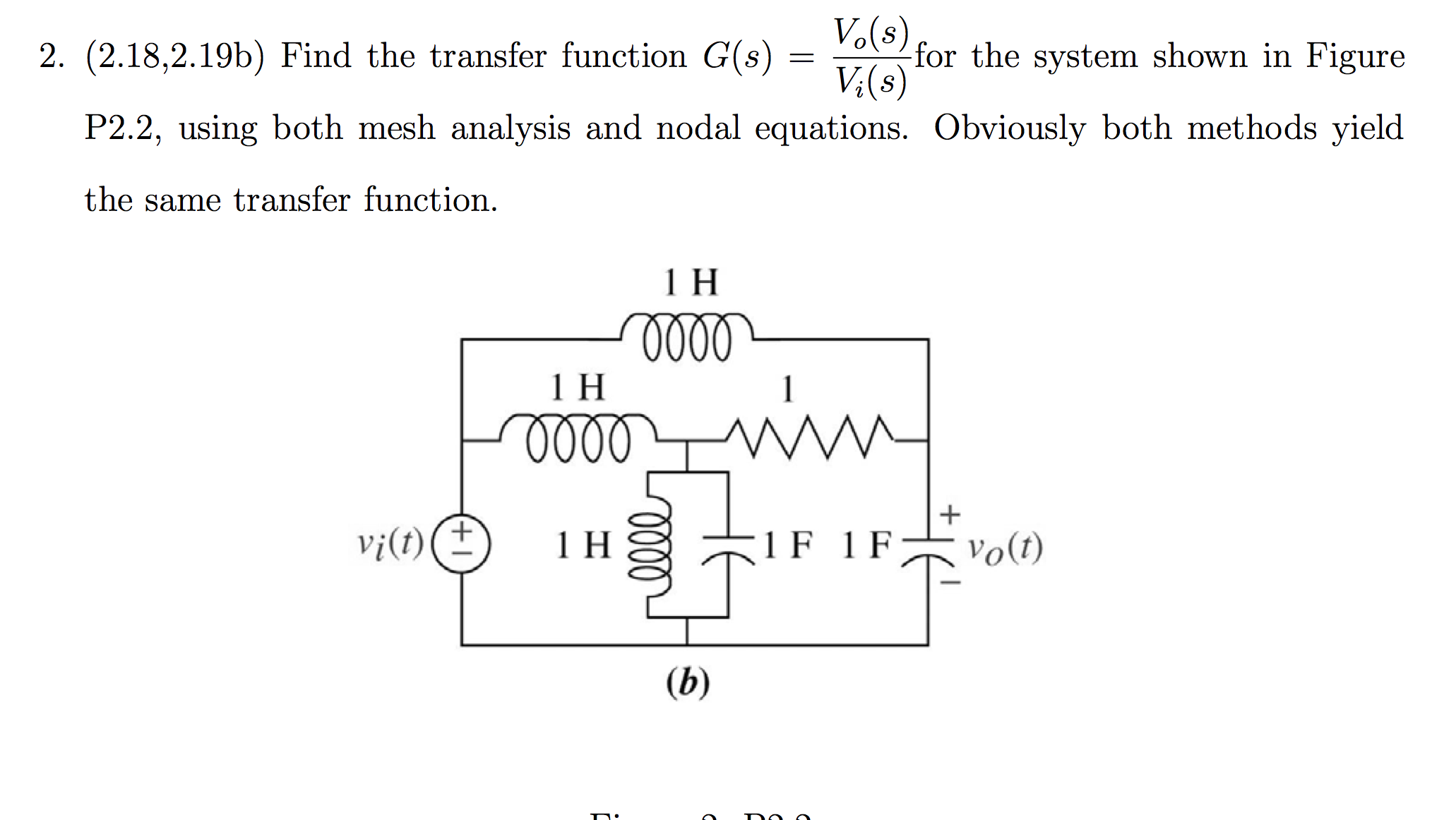 Find the transfer function G(s) = Vo(s) / Vi(s) fo