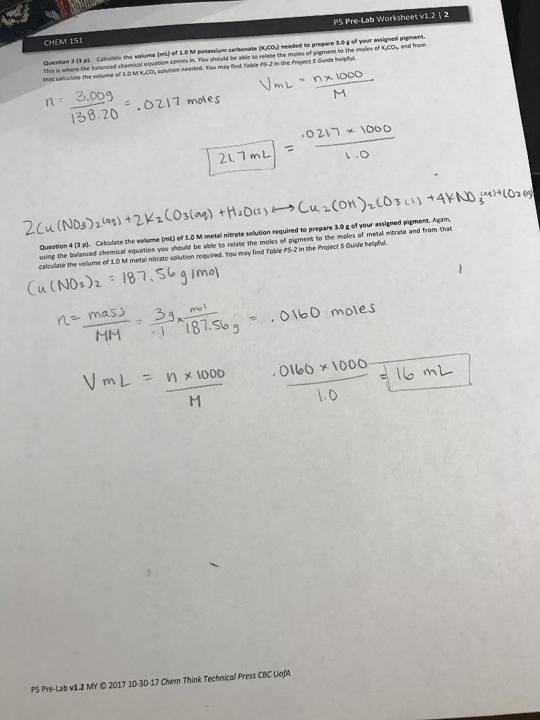 Solved Chem 151 P5 Pre Lab Worksheet V12 12 Question 3