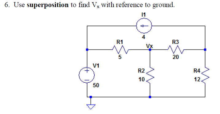 Use superposition to find Vx with reference to gro