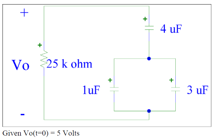 Given Vo(t=0)=5 volts